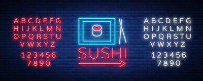 Dirigez le bar à sushis de logo d'enseigne au néon, rue asiatique de prêt-à-manger dans une barre ou la boutique, le sushi, Onigi Illustration de Vecteur