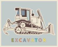 Dirigez le bas poly bêcheur dans la rétro couleur de style Excavatrice de vintage illustration de vecteur