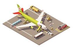 Dirigez le bas poly tablier isométrique d'aéroport avec l'équipement de soutien au sol d'avion et et les véhicules illustration de vecteur