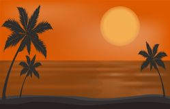 Dirigez le beau coucher du soleil sur la mer ou l'océan de plage Photos stock