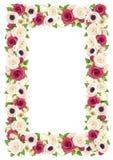 Dirigez le cadre avec les fleurs rouges, roses et blanches Photos libres de droits