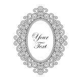 Dirigez le cadre baroque avec l'ornement ovale vertical avec le texte, éléments décoratifs de conception de vintage Images libres de droits