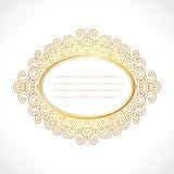 Dirigez le cadre baroque de vintage d'or avec l'ornement ovale horisontal exclusif, conception décorative Images libres de droits