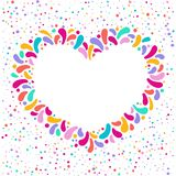 Dirigez le cadre de coeur de vacances avec l'ornement des baisses multicolores Pour la conception de carnaval, festivals, thèmes  image stock