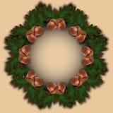 Dirigez le cadre de vacances d'automne avec des glands et des feuilles Images stock