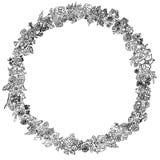 Dirigez le cadre floral noir et blanc des spirales, remous, griffonnages Photos stock