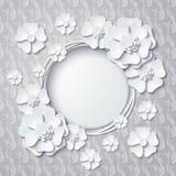 Dirigez le cadre rond de vintage avec les fleurs 3d blanches Images stock