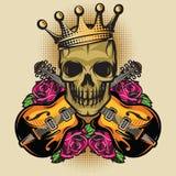 Dirigez le calibre d'affiche de couleur avec la guitare, le crâne et la Rose Images stock