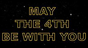 Dirigez le calibre de carte de voeux pour mai où le 4ème soit avec vous des vacances illustration stock