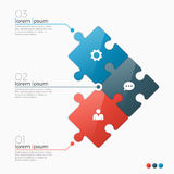 Dirigez le calibre infographic de 3 options avec des sections de puzzle Photographie stock