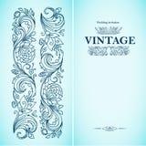 Dirigez le calibre ornemental de vintage avec le modèle et le cadre décoratif Les fleurs, brindilles bourgeonne et part dans le r Images libres de droits