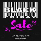 Dirigez le calibre promotionnel de bannière de vente de Black Friday avec code barres stylisé Photos stock