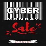 Dirigez le calibre promotionnel de bannière de vente de lundi de Cyber avec code barres stylisé Photo libre de droits