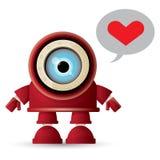 Dirigez le caractère amical rouge de robot de bande dessinée drôle d'isolement sur le fond blanc Badine le jouet du robot 3d Icôn Photo stock