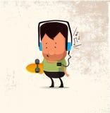 Dirigez le caractère d'homme de hippie avec la planche à roulettes, écouteurs de port de écoute de musique illustration de vecteur