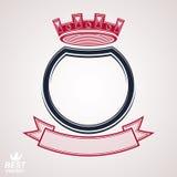 Dirigez le cercle avec la couronne 3d royale décorative et le ruban de fête, illustration de vecteur