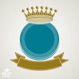 Dirigez le cercle avec la couronne 3d royale décorative et le ruban de fête, Photo stock