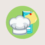 Dirigez le chapeau de chef et faire cuire la conception plate d'icône de livre Photo stock