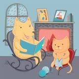 Dirigez le chien d'illustration et le chat mignons, cosiness d'automne illustration libre de droits