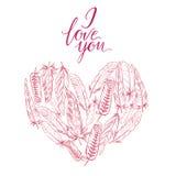 Dirigez le coeur d'illustration des plumes et des mots je t'aime Plumes d'oiseau ornementales d'isolement sur le blanc Éléments d Photo stock