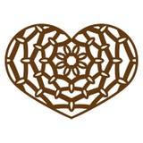 Dirigez le coeur de dentelle de pochoir avec le modèle à jour découpé descripteur Photo libre de droits