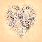 Dirigez le coeur floral de griffonnage, des fleurs, des feuilles Image libre de droits