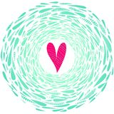 Dirigez le coeur rose sur le fond abstrait avec le cadre des baisses de turquoise illustration stock