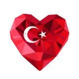 Dirigez le coeur turc de bijoux avec le drapeau de la république turque Photos stock