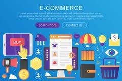 Dirigez le commerce électronique plat à la mode de couleur de gradient, les achats en ligne et la vente au détail, bannière élect illustration libre de droits