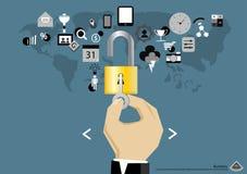 Dirigez le comprimé mobile de technologie des communications d'affaires et une clé et padlock l'icône dans la conception plate de Photo stock