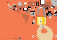 Dirigez le comprimé mobile de technologie des communications d'affaires et une clé et padlock l'icône dans la conception plate de Photos libres de droits