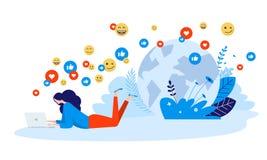 Dirigez le concept d'illustration de la mise en réseau, communication en ligne, communauté d'Internet illustration libre de droits