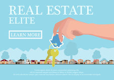 Dirigez le concept d'immobiliers dans le style plat - mains donnant les clés, la bannière à vendre, les maisons d'élite à vendre  Photo stock