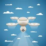 Dirigez le concept du bourdon d'air de quadcopter avec la came visuelle Image stock