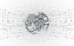 Dirigez le concept global numérique de technologie, fond abstrait illustration libre de droits