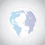 Dirigez le concept global numérique de technologie, fond abstrait illustration de vecteur