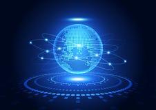 Dirigez le concept global numérique de technologie, fond abstrait Photo stock