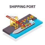 Dirigez le concept isométrique de navire porte-conteneurs et de grue de cargaison Images libres de droits