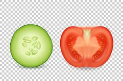 Dirigez le concombre juteux et la tomate de la tranche 3d réaliste dans un plan rapproché réglé d'icône de coupe d'isolement sur  Illustration de Vecteur