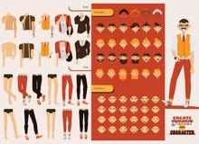 Dirigez le constructeur avec le caractère masculin beau avec les parties du corps détachées, les têtes variables, les émotions su Photo stock