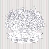 Dirigez le croquis, bouquet avec le souhait de joyeux anniversaire Photo libre de droits