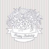 Dirigez le croquis, bouquet de fleur de vacances avec le souhait de joyeux anniversaire Photo libre de droits