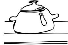 Dirigez le croquis d'une grande casserole avec un couvercle sur la table Photos stock