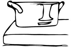Dirigez le croquis d'une grande casserole se tenant sur le bord Photographie stock