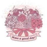 Dirigez le croquis de couleur, bouquet avec le bon souhait Photo stock