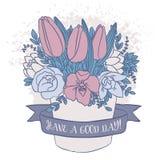 Dirigez le croquis de couleur, bouquet de ressort avec le bon souhait Images stock