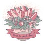 Dirigez le croquis de couleur, bouquet de tulipe avec le bon souhait Photos libres de droits