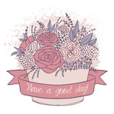 Dirigez le croquis de couleur, fleurs de fête avec le bon souhait Image libre de droits