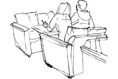 Dirigez le croquis de l'homme et de la femme s'asseyant sur un divan dans un café Photos libres de droits