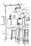 Dirigez le croquis des hauts tabourets dans la cuisine Photo stock